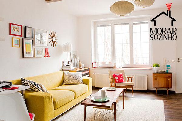 arrumar os móveis em uma sala pequena