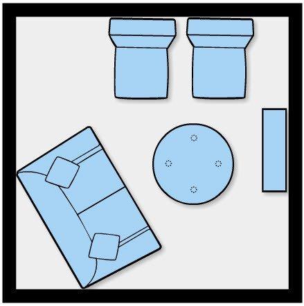 arrumar os móveis em sala pequena