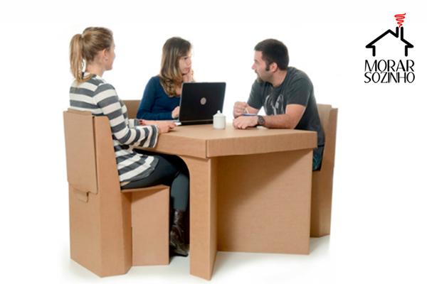 móveis de papelão morar sozinho decoração